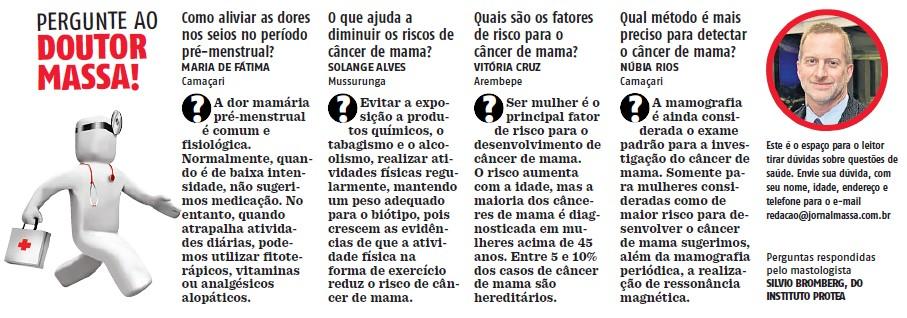 Dr. Silvio Bromberg, Mastologista e Conselheiro Protea, responde dúvidas - dos leitores do Jornal Massa de Salvador. Confira na imagem!
