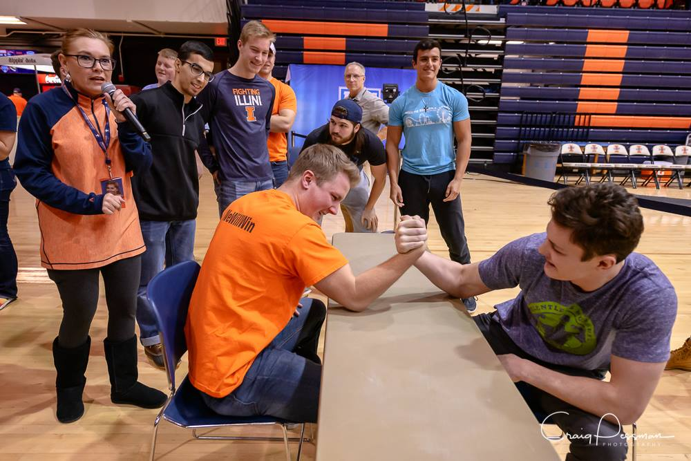 Photo taken by Craig Pessman of Wrestleheads in an arm wrestling competition before a match.