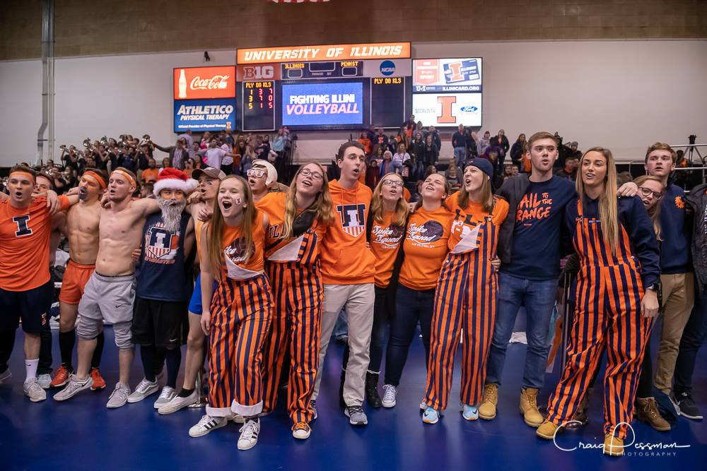 Photo taken by Craig Pessman pg Spike Squad singing Hail to the Orange with the men's gymnastics team after volleyball.