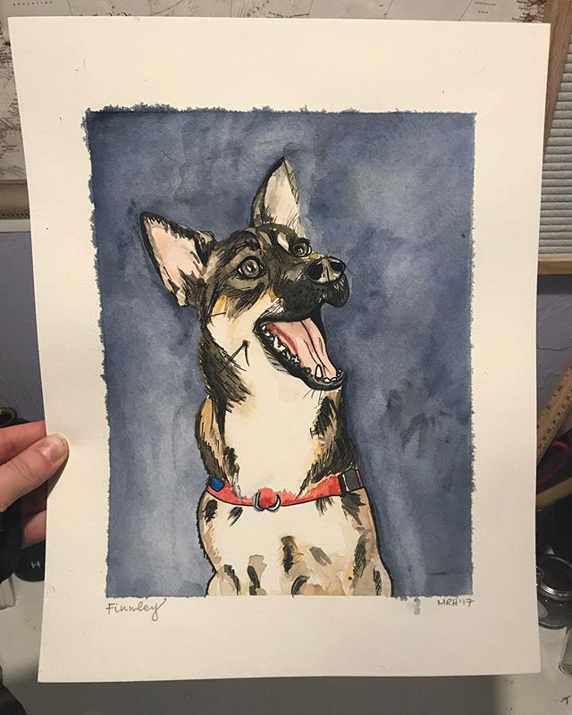 @mickey_allan @kelseyyyfish thanks for letting me look at this face all day! Check out my story for the process behind Mr. Finn 🐶  #watercolor #portrait #animalportrait #etsyseller