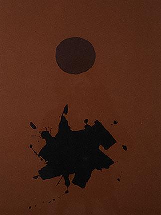 Adolph Gottlieb, Red Ground, Maroon Disk, 1966
