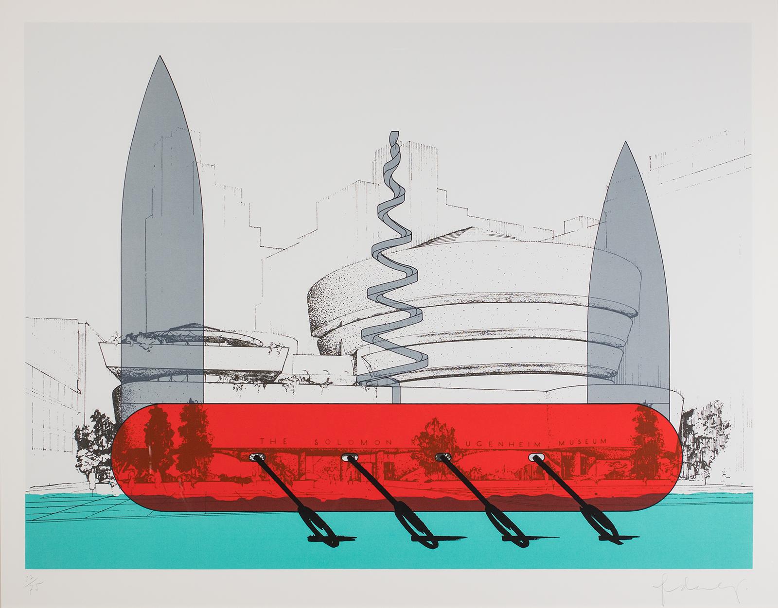 Claes Oldenburg, Knife Ship Superimposed on the Guggenheim Museu