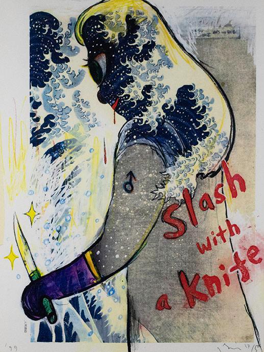 Yoshitomo Nara, Slash With A Knife, 1999