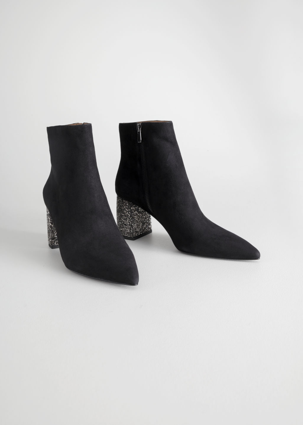 rhinestone heel ankle boots - & other stories