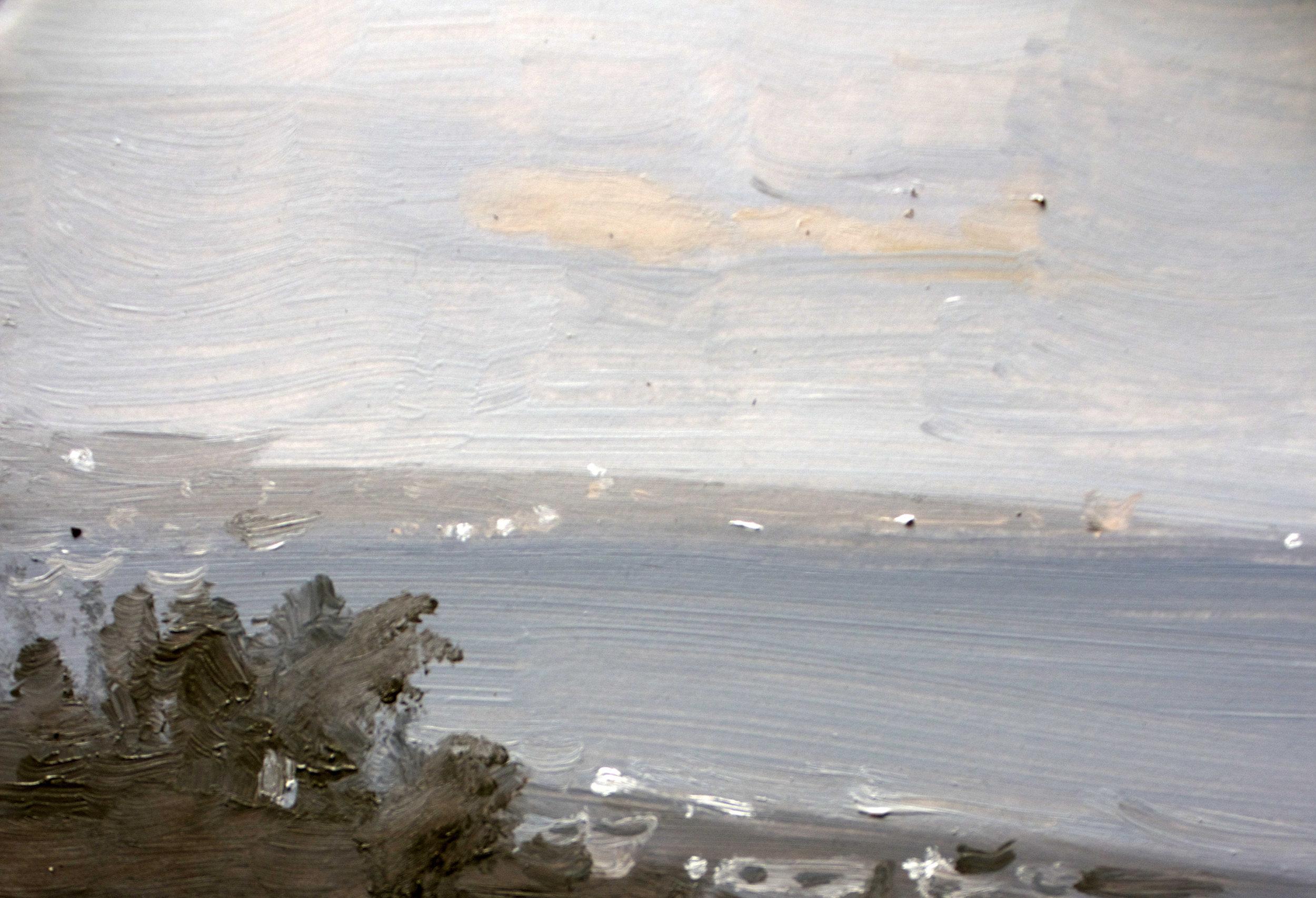 Yomitan balcony view - oil on panel, 5x7 in