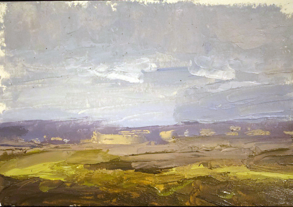 Landscape - distant mountains and houses - Oil on panel, 5x7 in