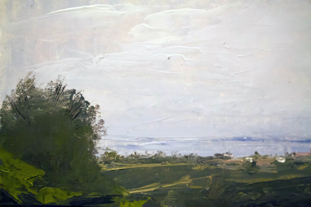 Distant oceanscape, trees and buildings - Oil on panel, 5x7 in