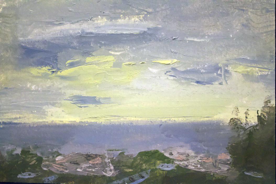"""Okinawa, Oceanscape Yellow Sun"" - Oil on panel, 5x7 in"