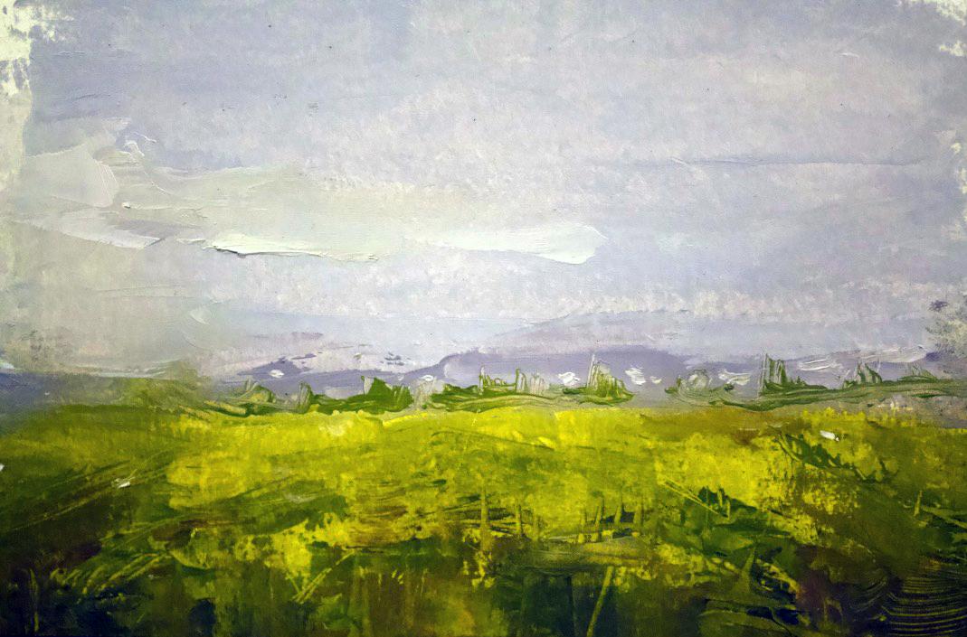 """Farm Lands"" - oil on panel, 5x7 in"