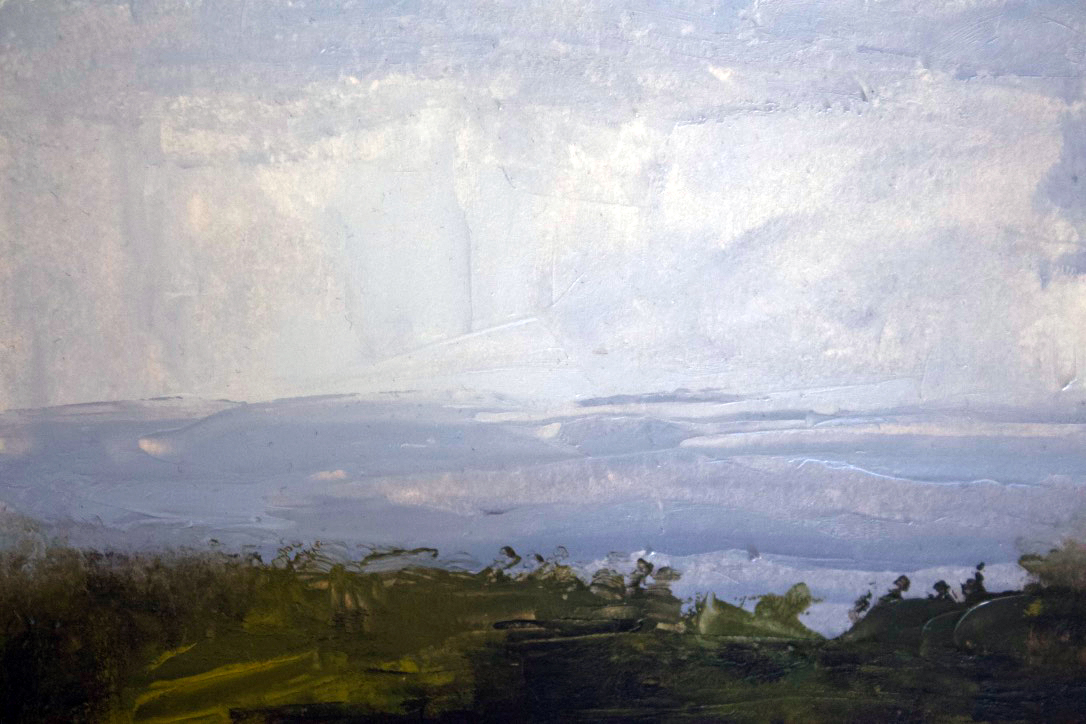 Skies from a distance - Okinawa Japan - plein air - oil on panel - Aug 2019 - 5x7 in