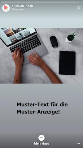 Automatisch generierte Story-Ad mit Foto im Querformat.