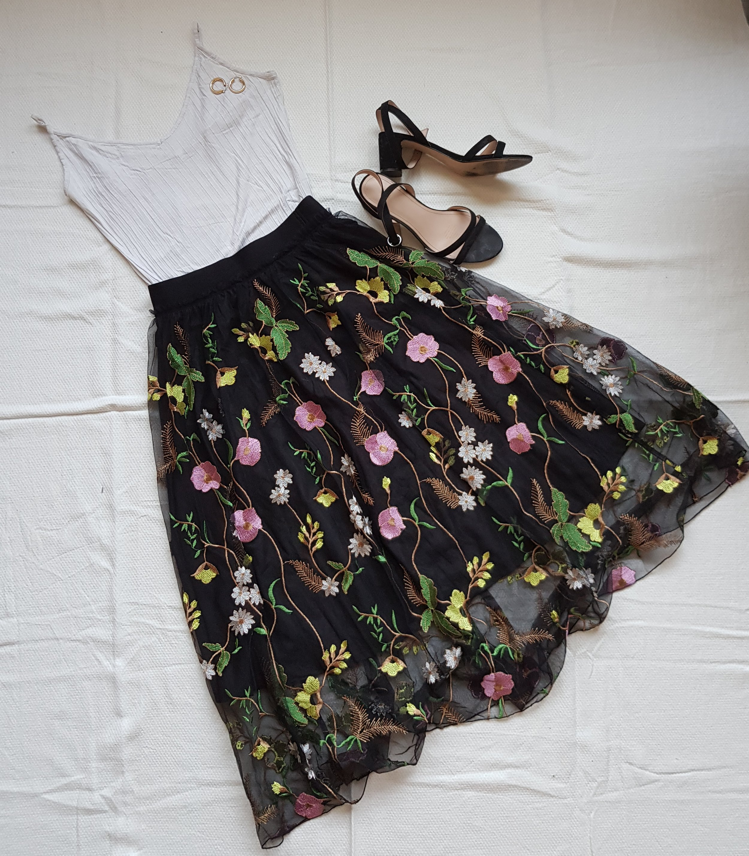 Creative Pink Flowers - Skirt @H&MShirt, shoes @H&MEarrings @UrbanOutfitters