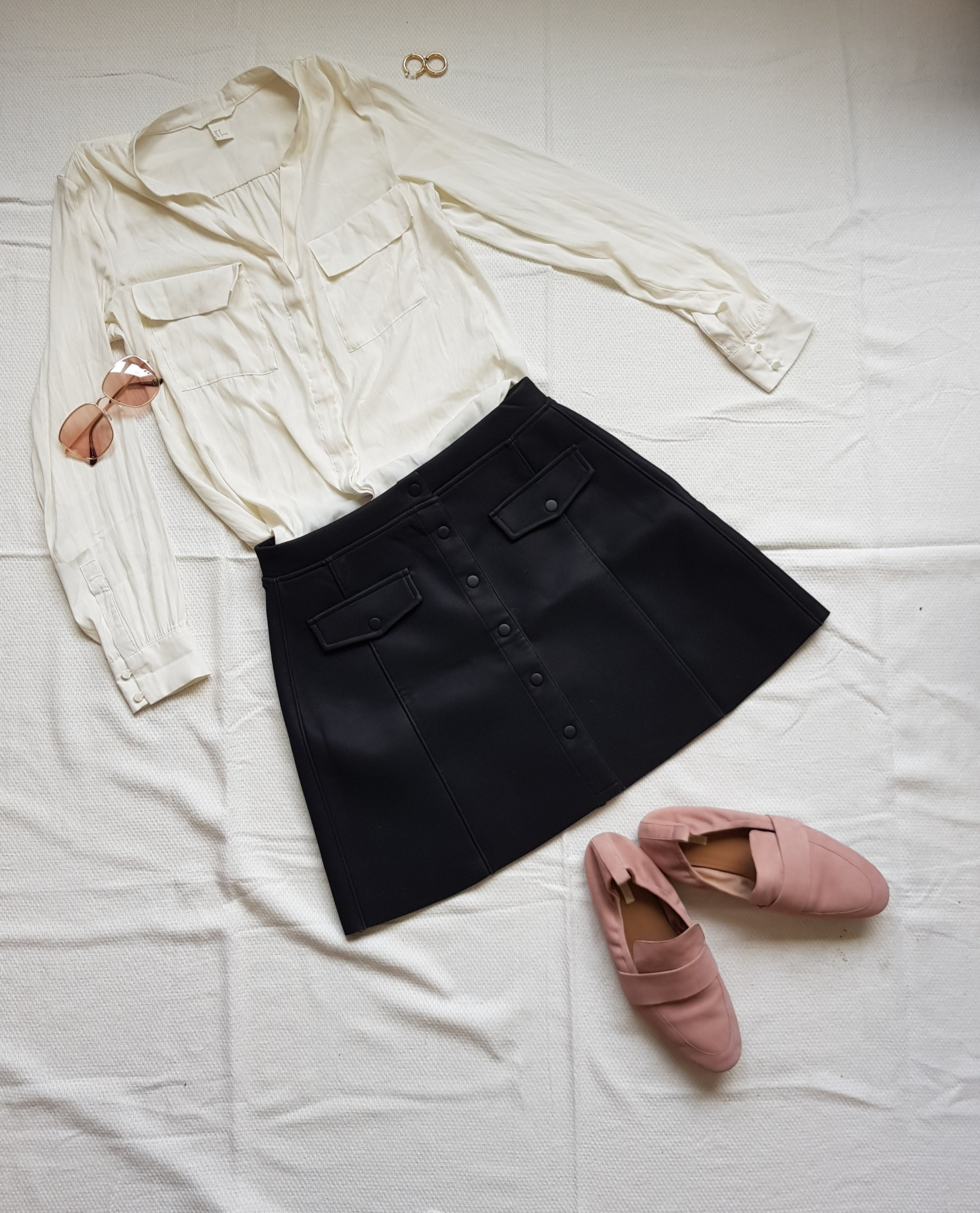 Simplicity Is Key - Blouse, skirt @H&MShoes, sunglasses @H&MEarrings @UrbanOutfitters