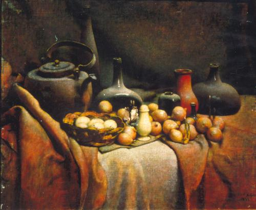 Onions (in Yellow Key), Oil on Canvas, Date uknown