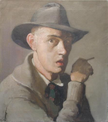 An early self portrait completed by the artist during his time in NYC