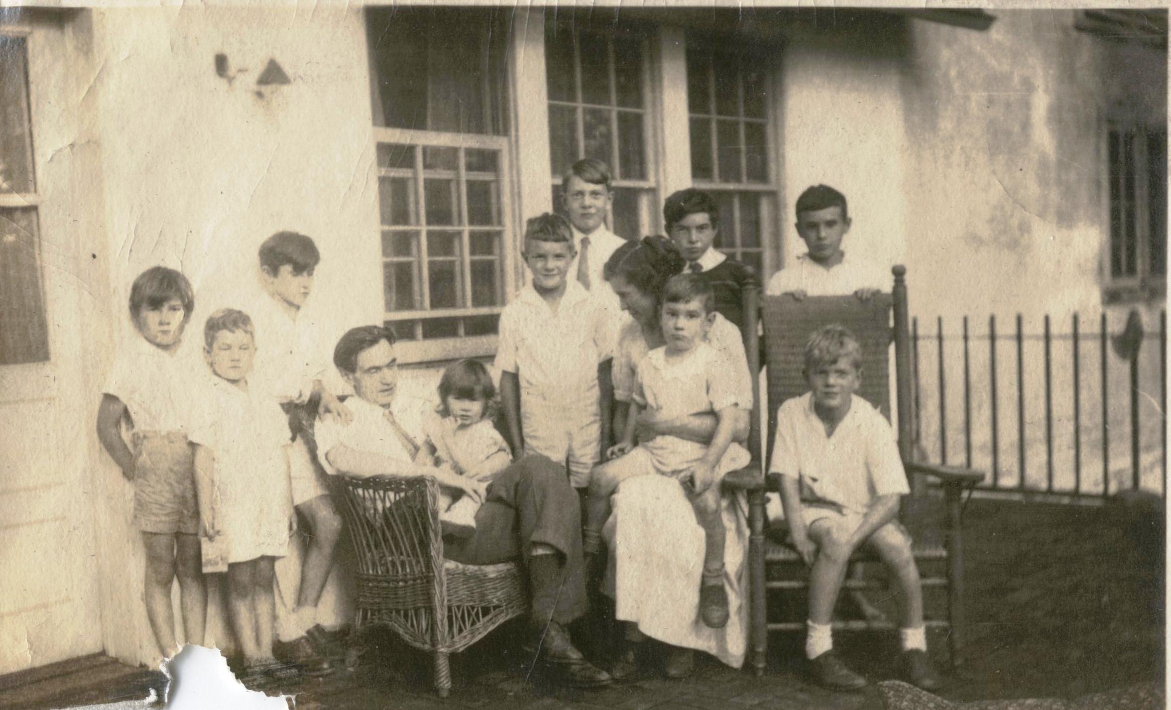 The Schmitt family on the porch, 1936