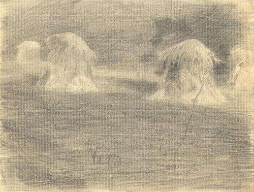 Haystacks, Graphite on Paper