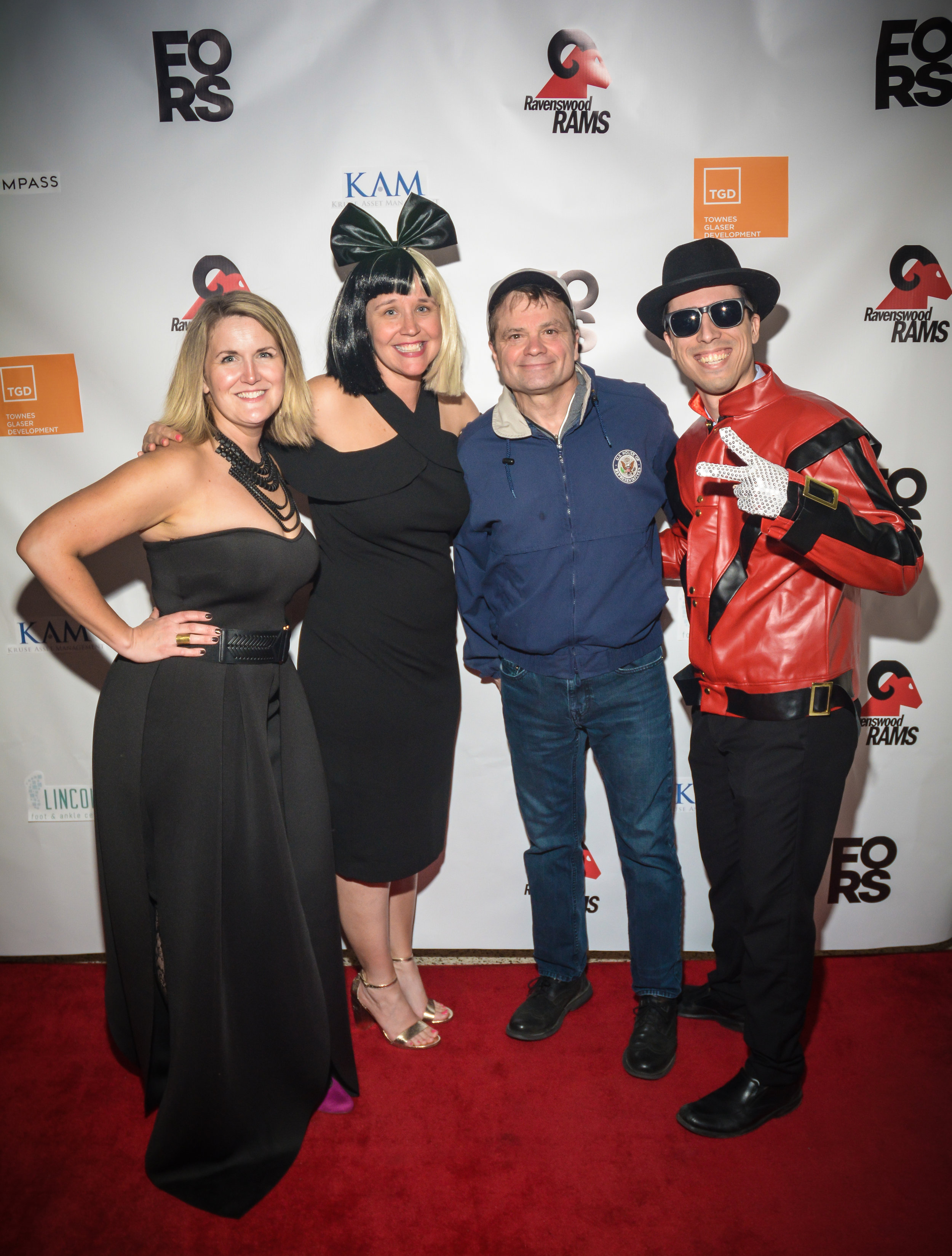 FORS co-presidents, Marta Hardacre and Mary Mesch with Congressman Mike Quigley and Principal Nate Manaen on the red carpet at the 2018 Spring Forward Benefit: Ravenswood Rocks.  Photo by Manuel Ortiz.