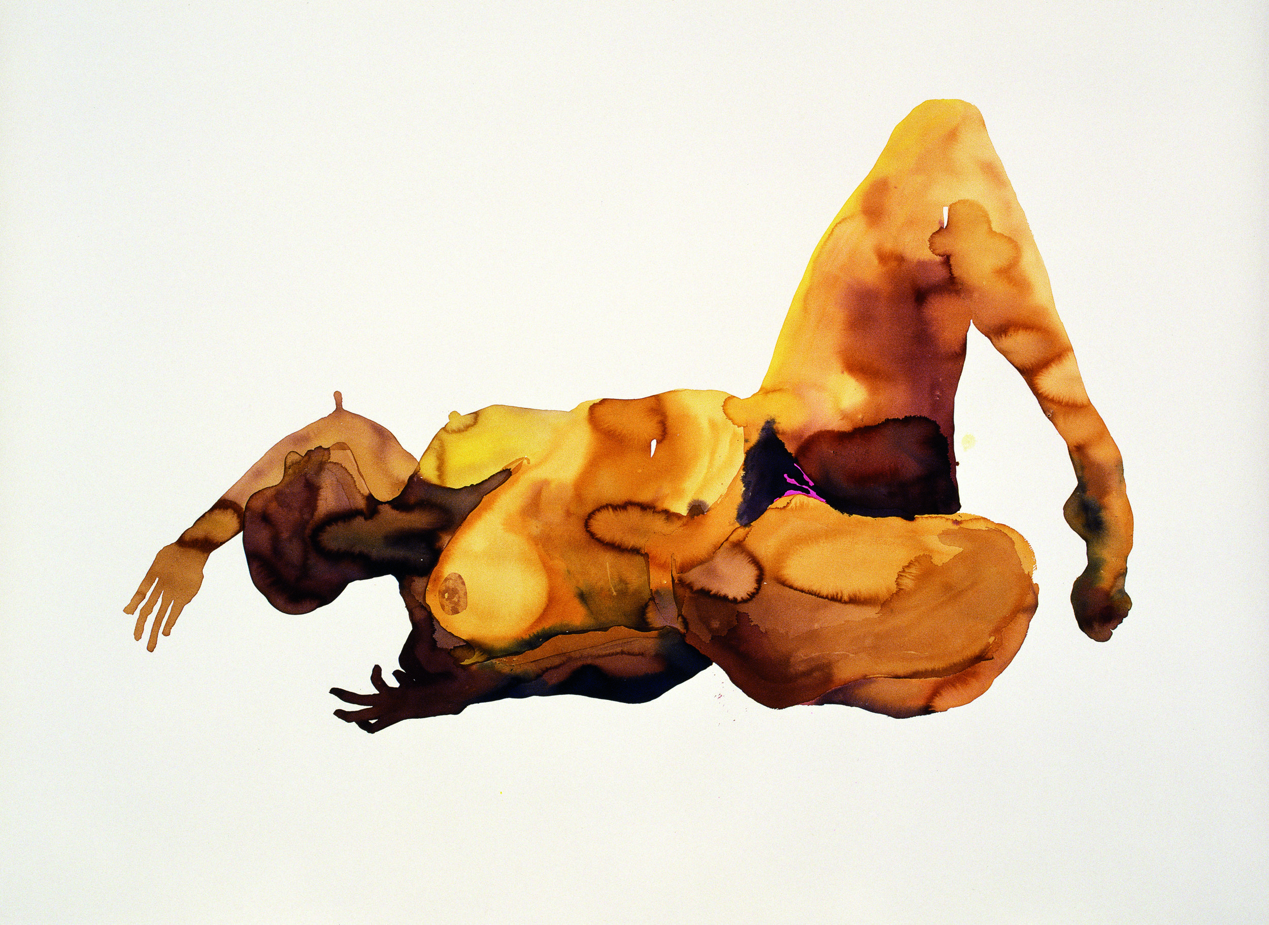 Senam Okudzeto, Large Reclining Nude, 2004, acrylic ink on Somerset paper, 86 in x 63 in. Source: Photograph by the artist and Mario Todeschini. Image courtesy of the artist.