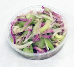 Purple radish, celery and scallions marinated in a fresh squeezed mandarin juice dressing.