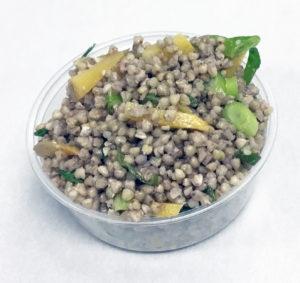Buckwheat, rutabaga and scallions.