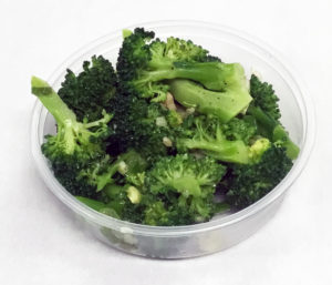 Water sauteed broccoli with garlic.