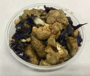 Sautéed cauliflower, red cabbage, red onion and paprika.