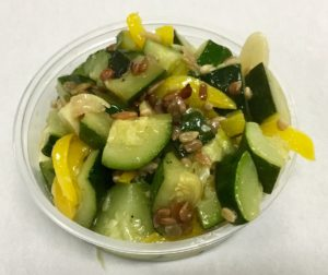 Sautéed zucchini, yellow peppers and roasted sunflower seeds.