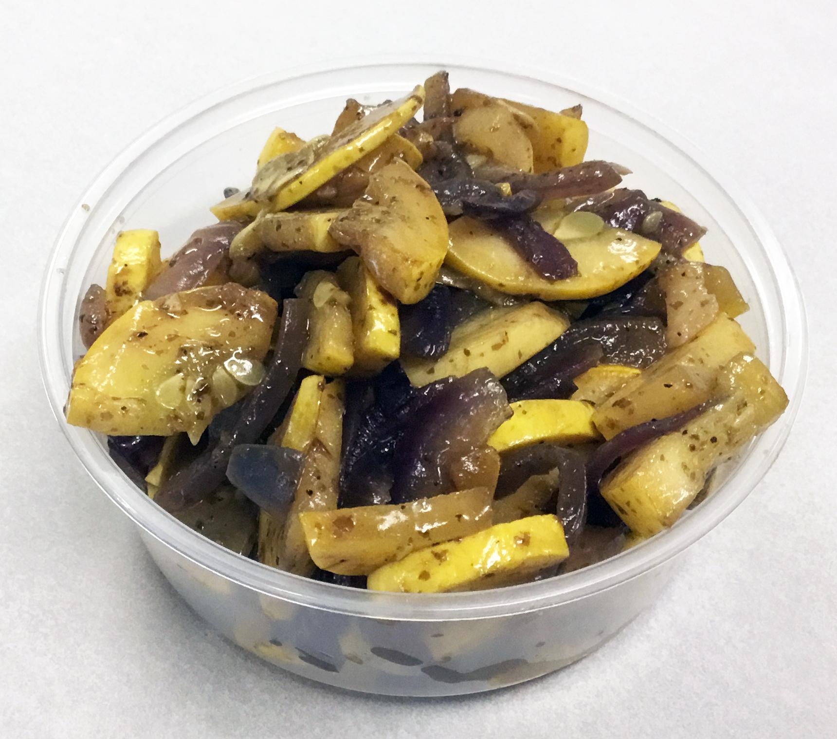 Sauteed yellow squash with red onion, nori flakes (seaweed) and tamari.