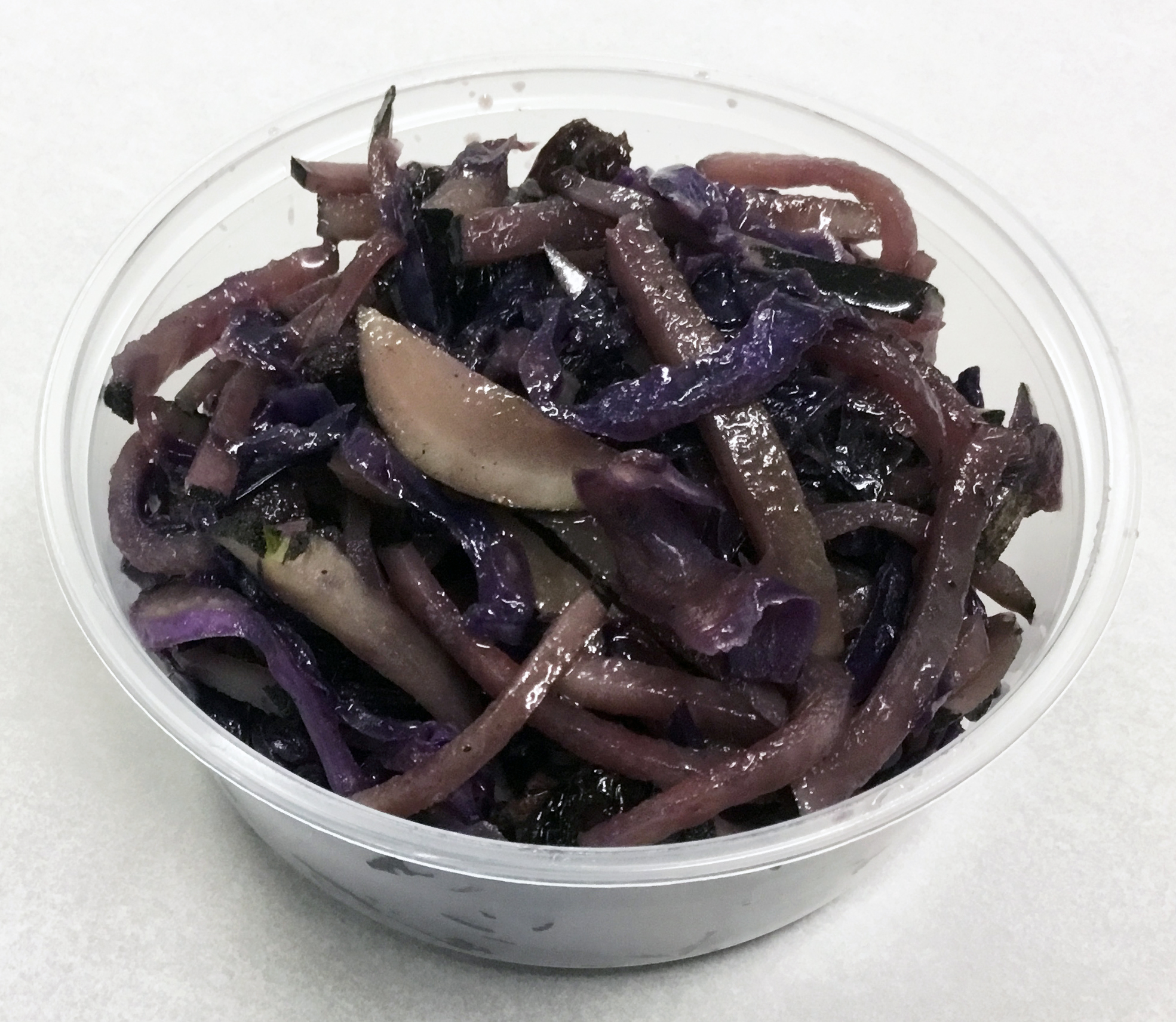 Water and oil saute of red cabbage, black radish, raisin, tamari and brown rice syrup.