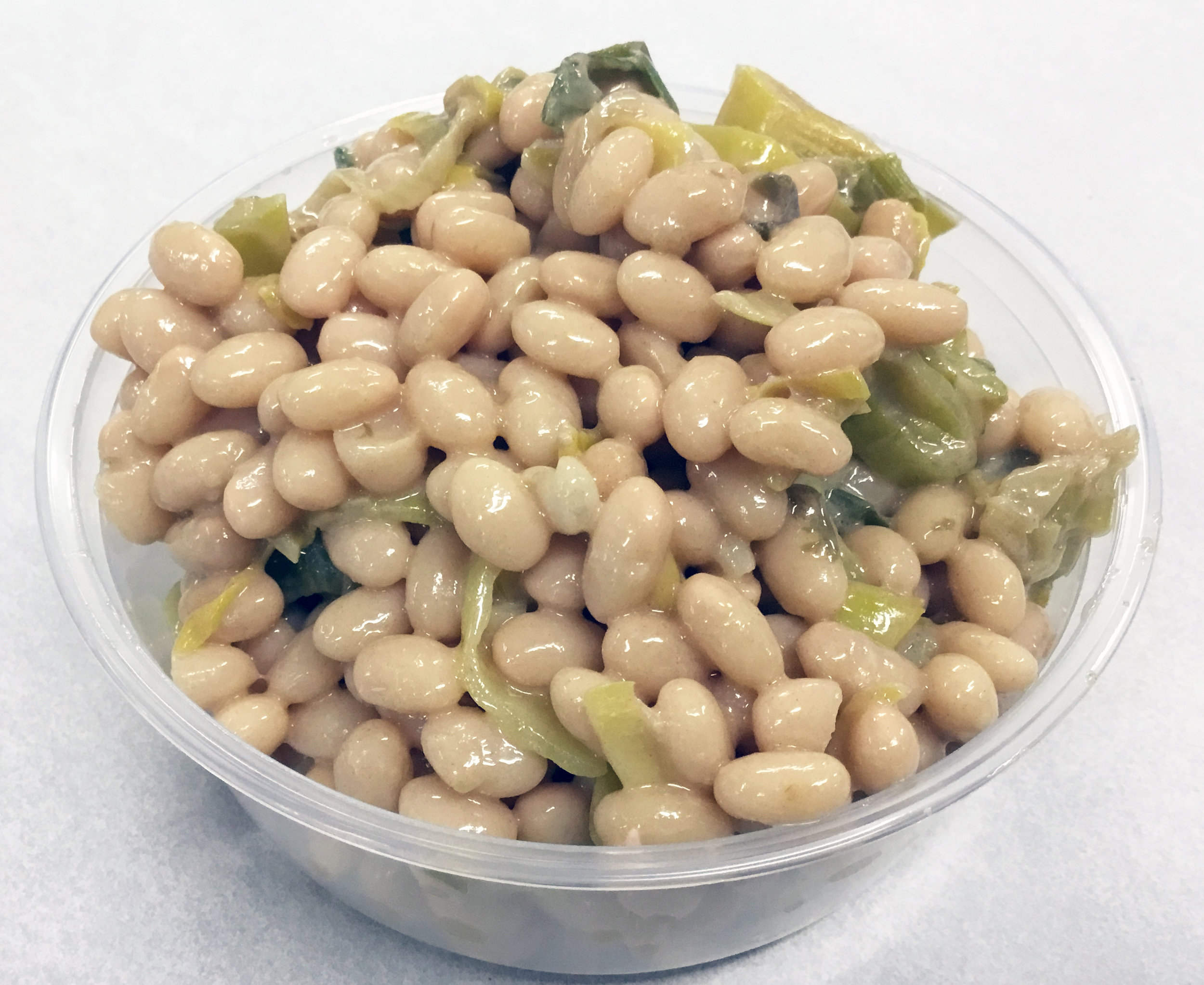 Great northern bean and leek salad with a French vinaigrette dressing.