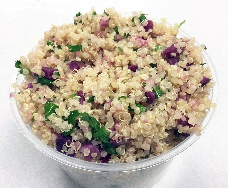 Quinoa with purple yams and cilantro.