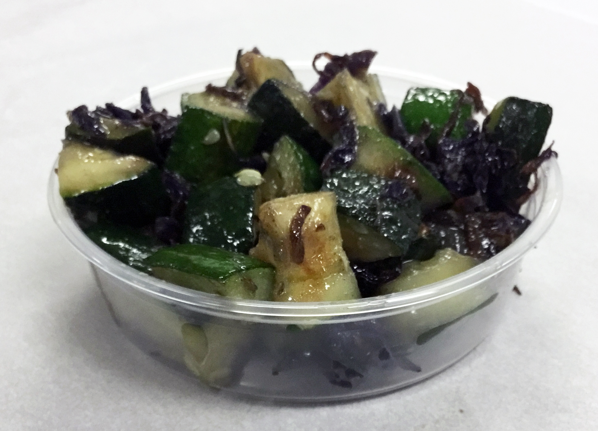 Sauteed zucchini and red cabbage with stone ground mustard.