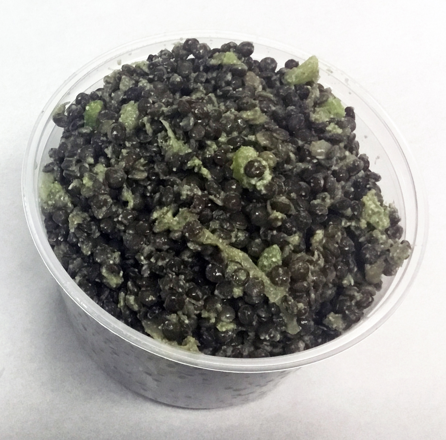 Black lentils with celery, daikon and a pumpkin seed and parsley dressing.