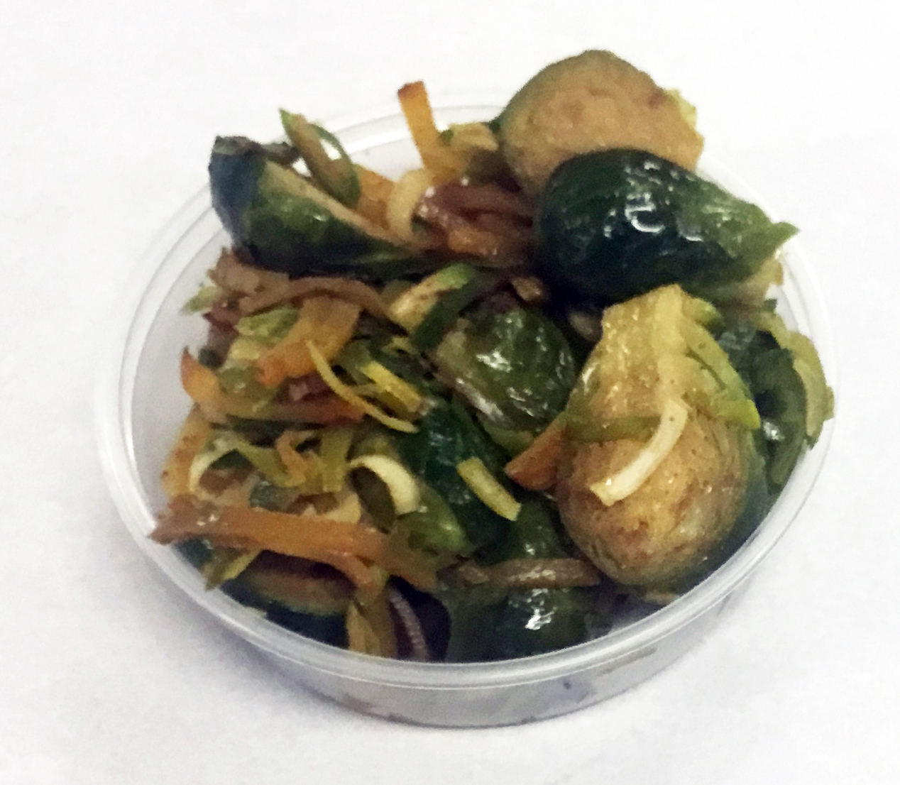 Brussel sprouts with golden beets, leeks and chili.