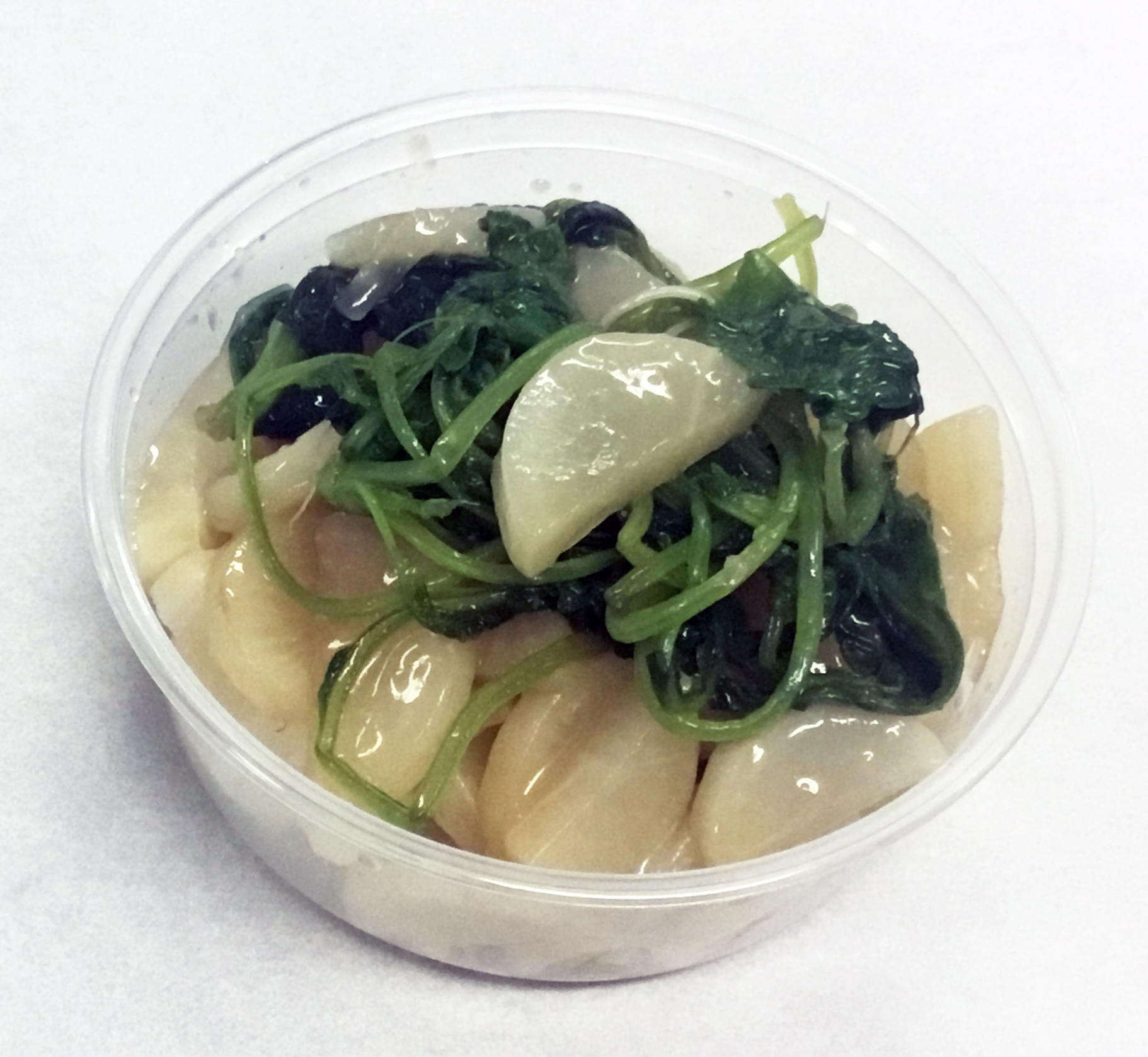 Daikon water saute with tops.