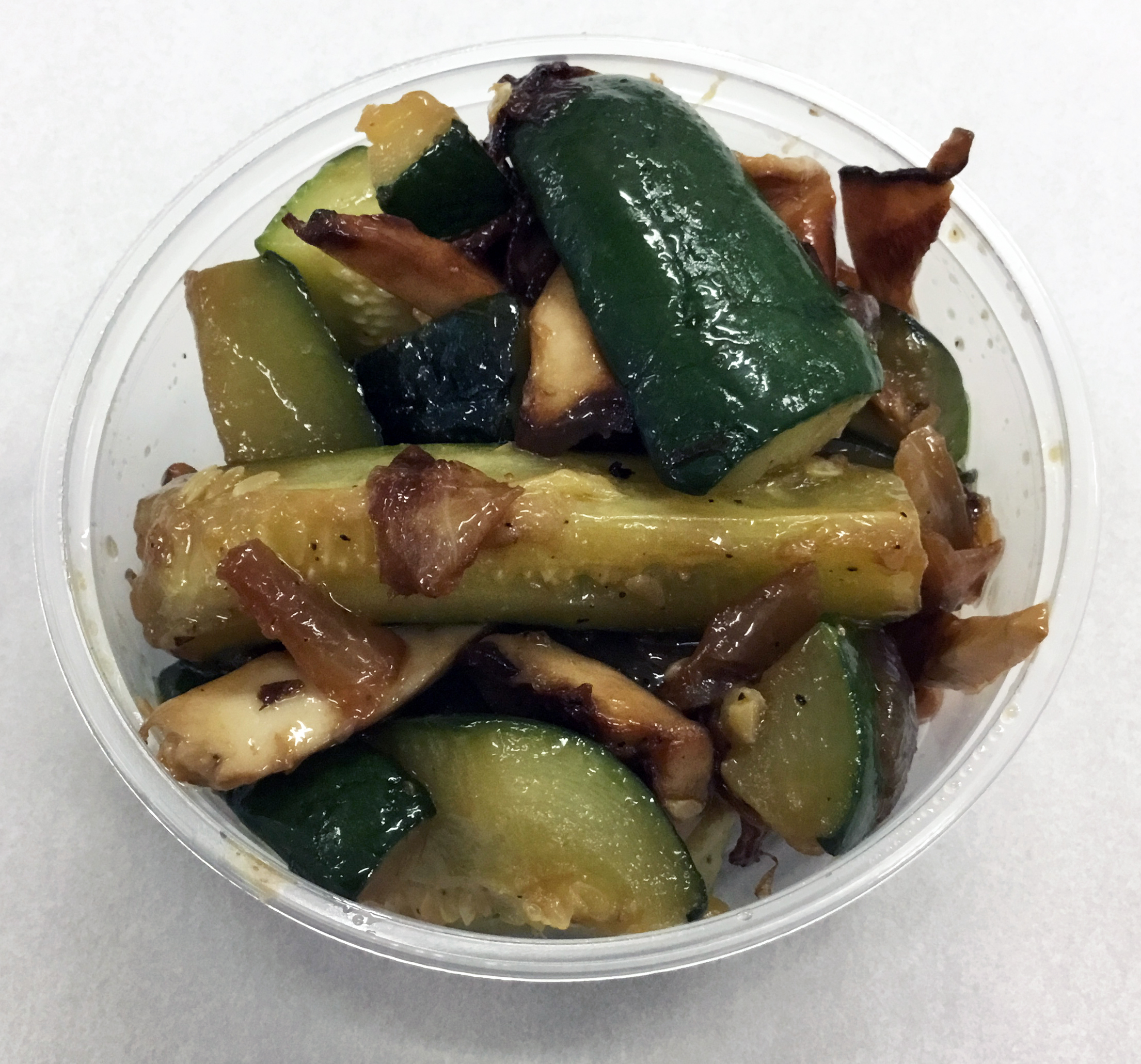 Zucchini, red onion and King Oyster mushrooms.