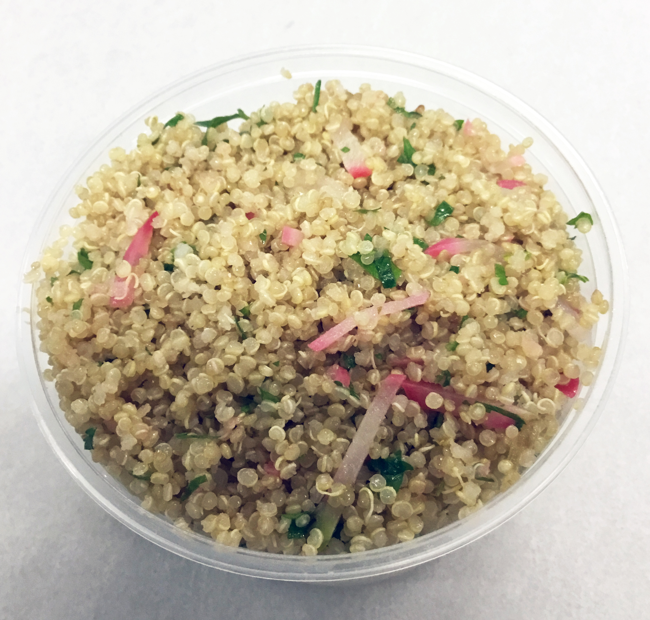 Quinoa with red radish and scallions.