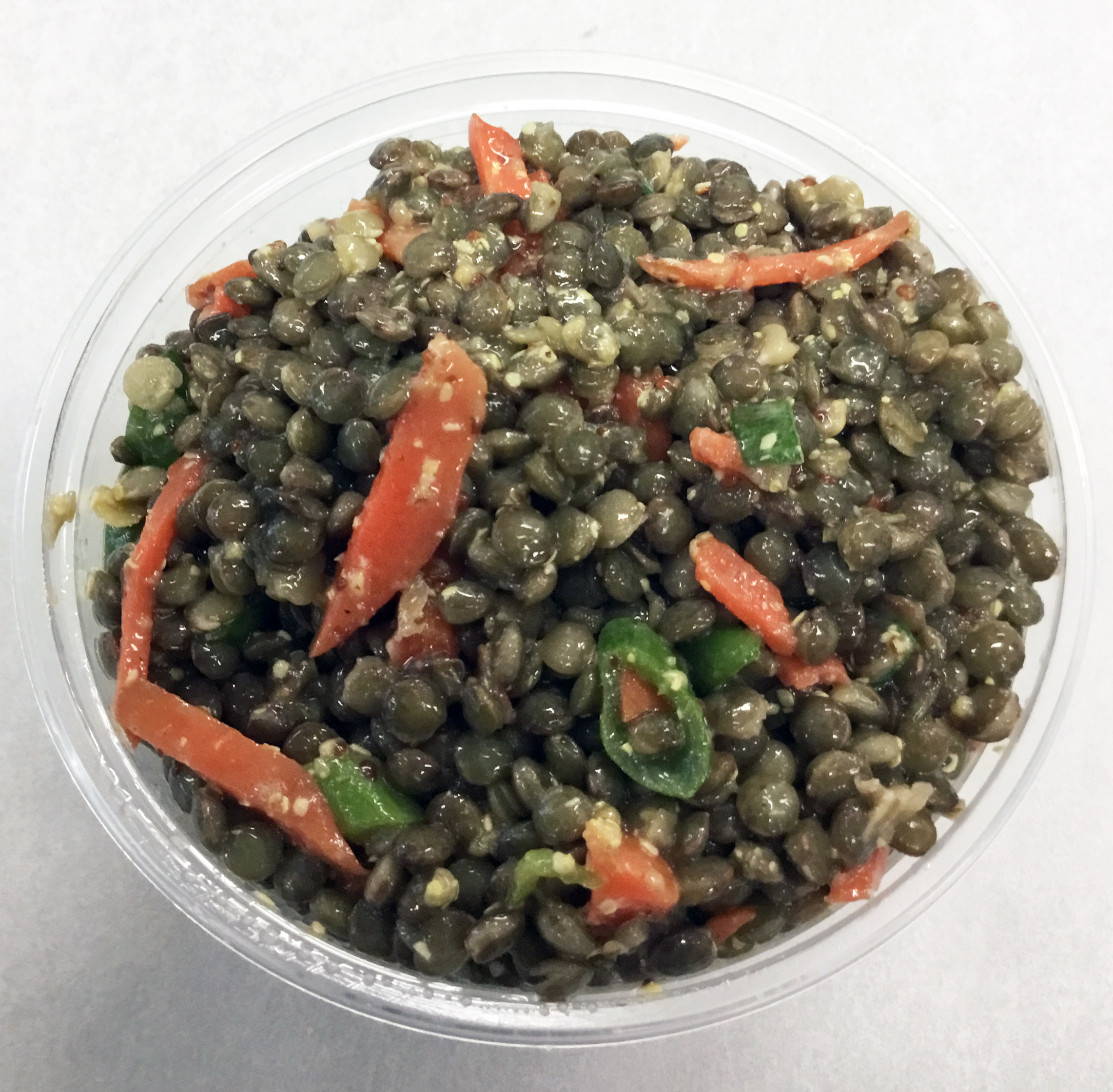 French lentils with carrot, scallions, mustard and parsley.