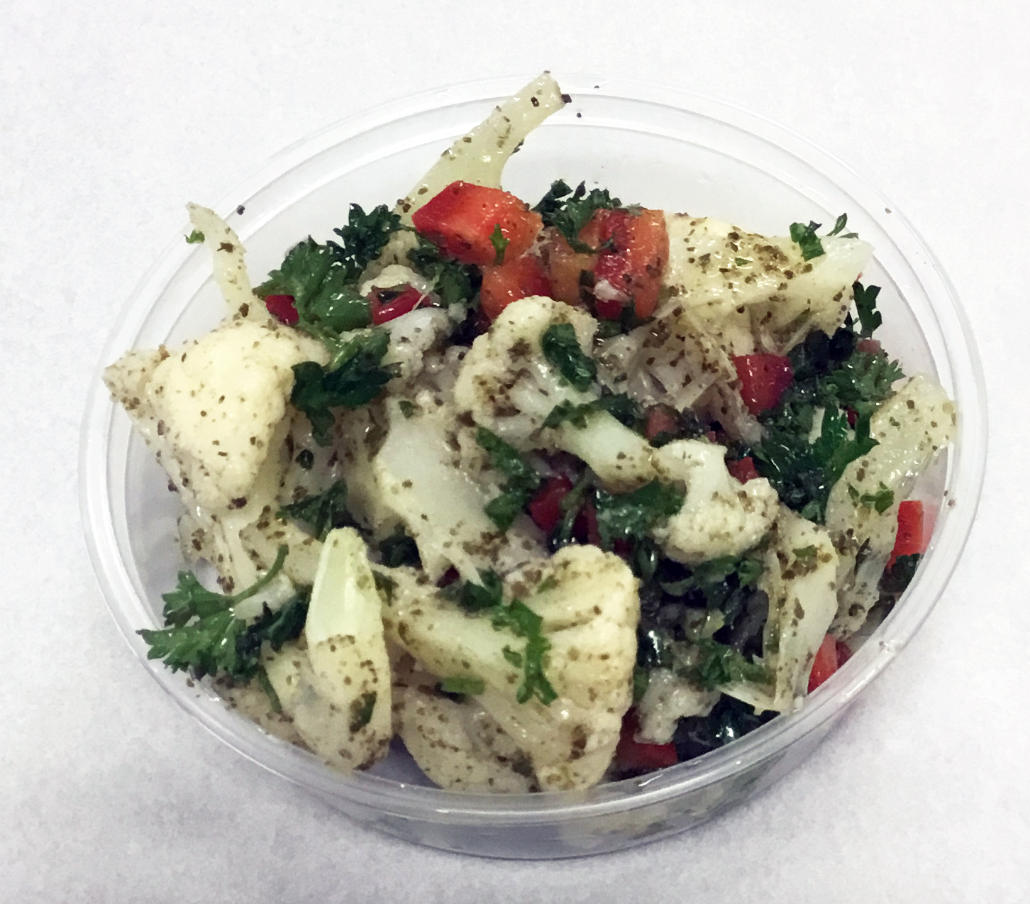 Cauliflower boiled salad with pepper, parsley, kelp  and brown rice vinegar dressing