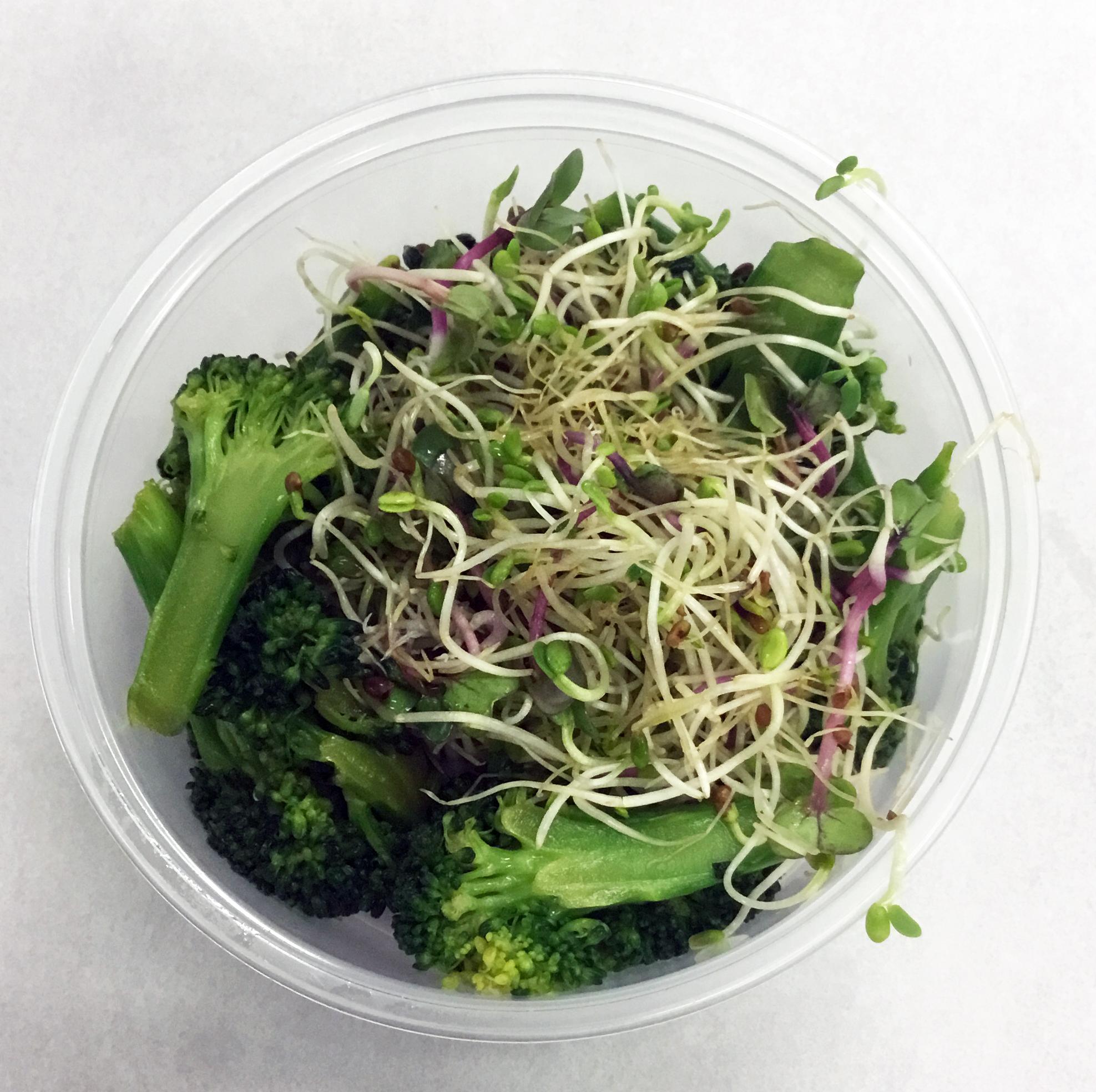 Teriyaki broccoli with alfalfa sprouts.
