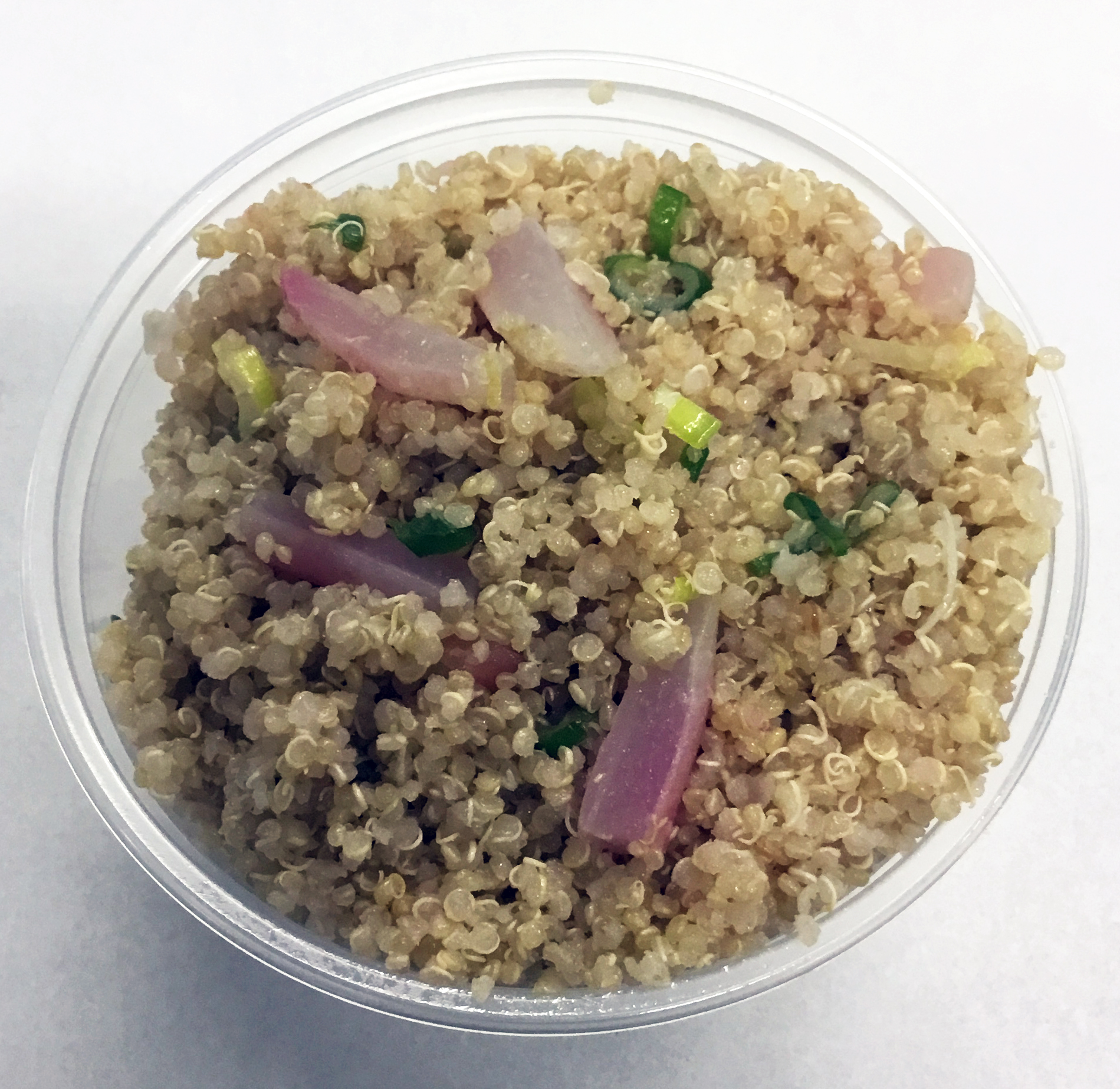 Quinoa with red radish and celery.