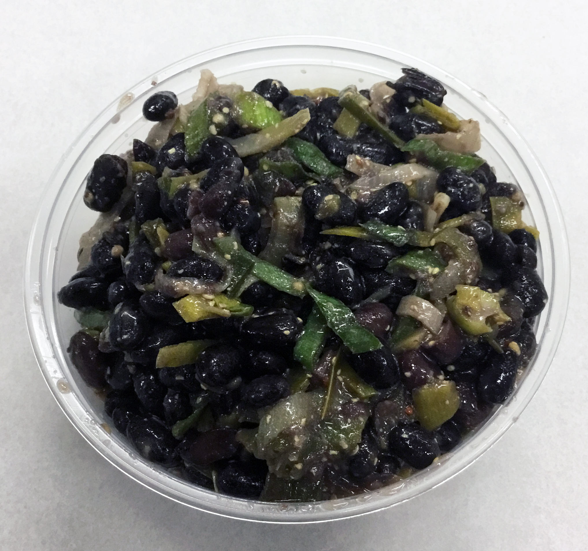 Black beans with leeks and stone ground mustard.