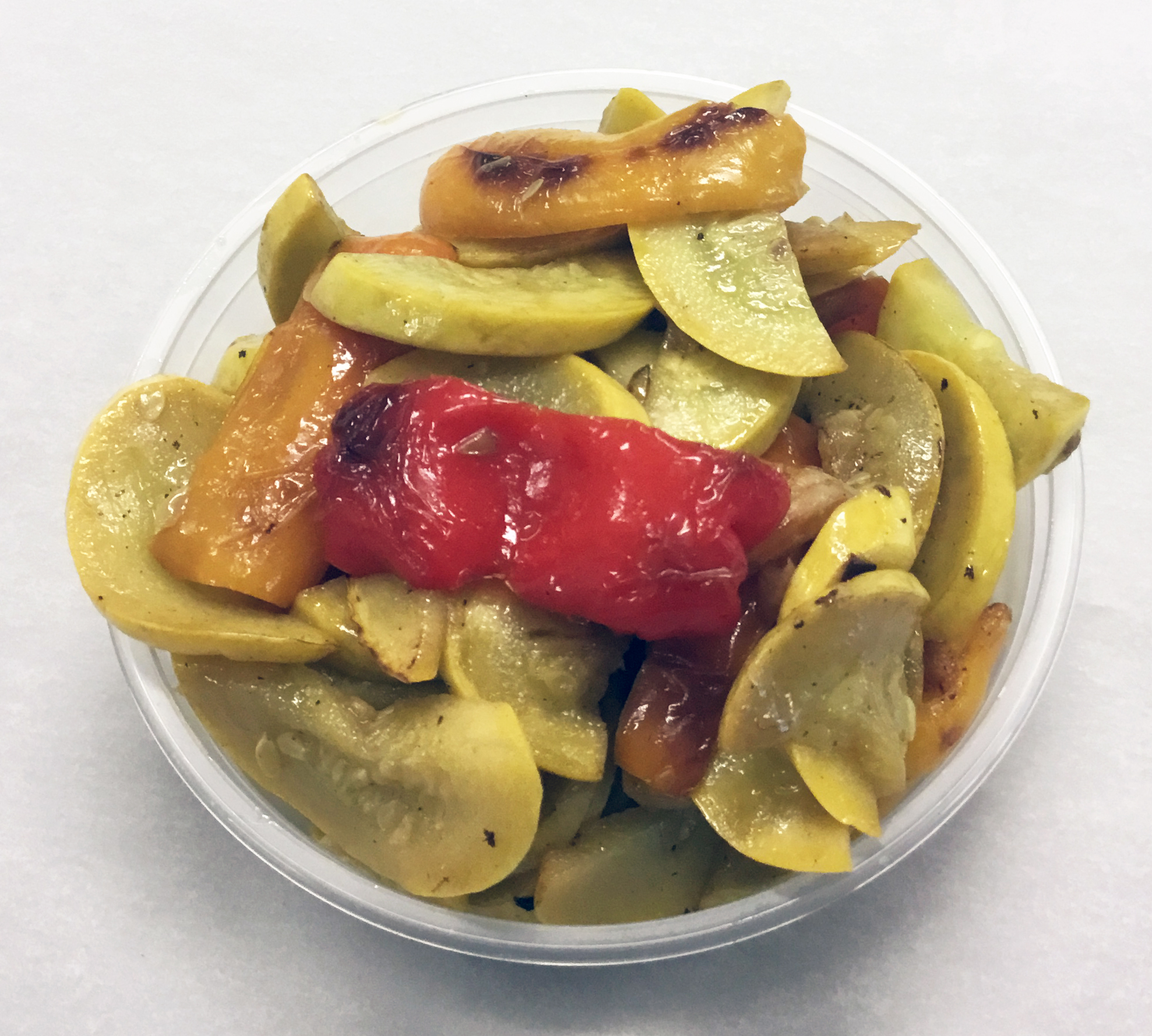 Sauteed yellow squash and bell peppers.