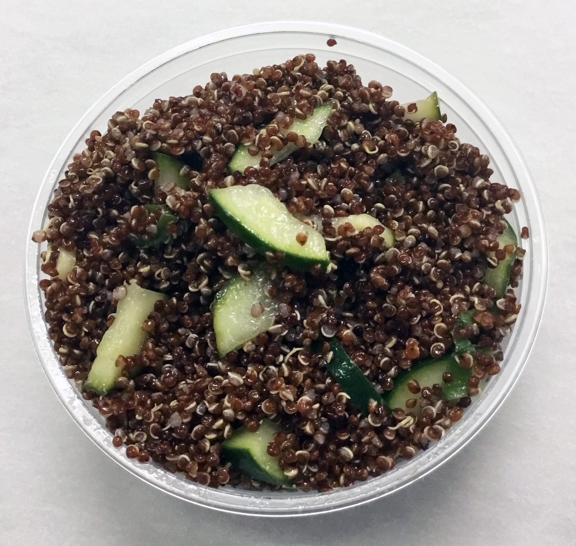 Red quinoa with cucumber and an umeboshi vinegar dressing.