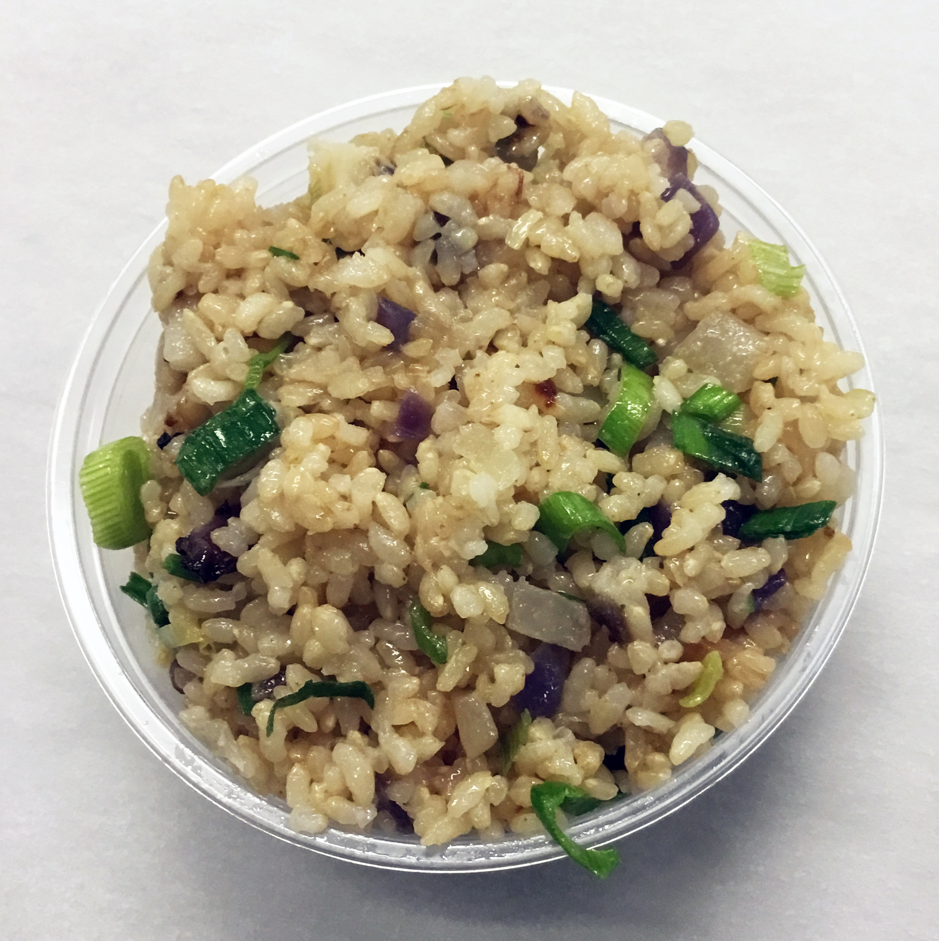 Stir fried brown rice with daikon radish, turnip, yellow onion and spring onion.