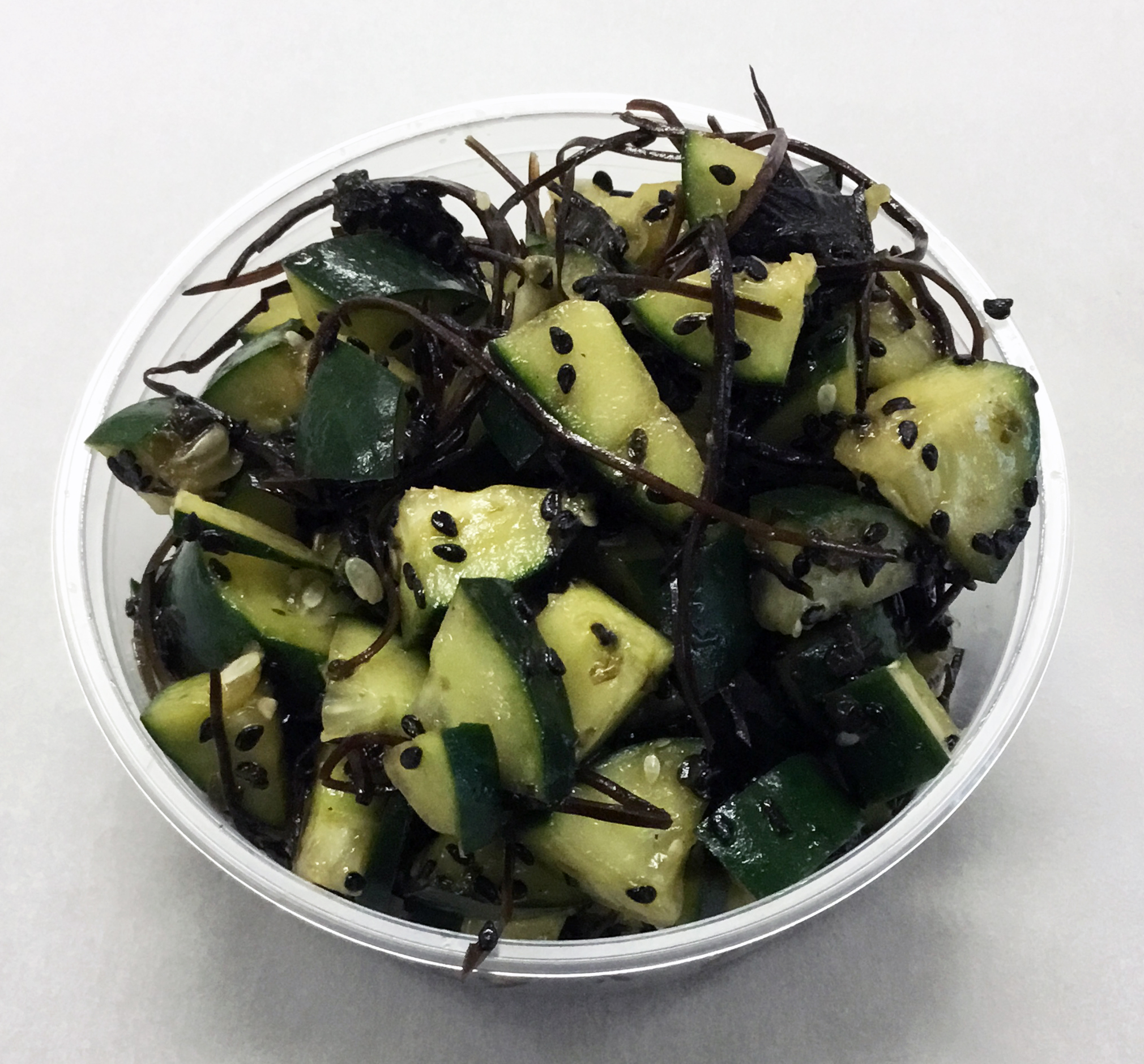 Cucumber, arame (seaweed), wakame (seaweed), black sesame seed and tamari.