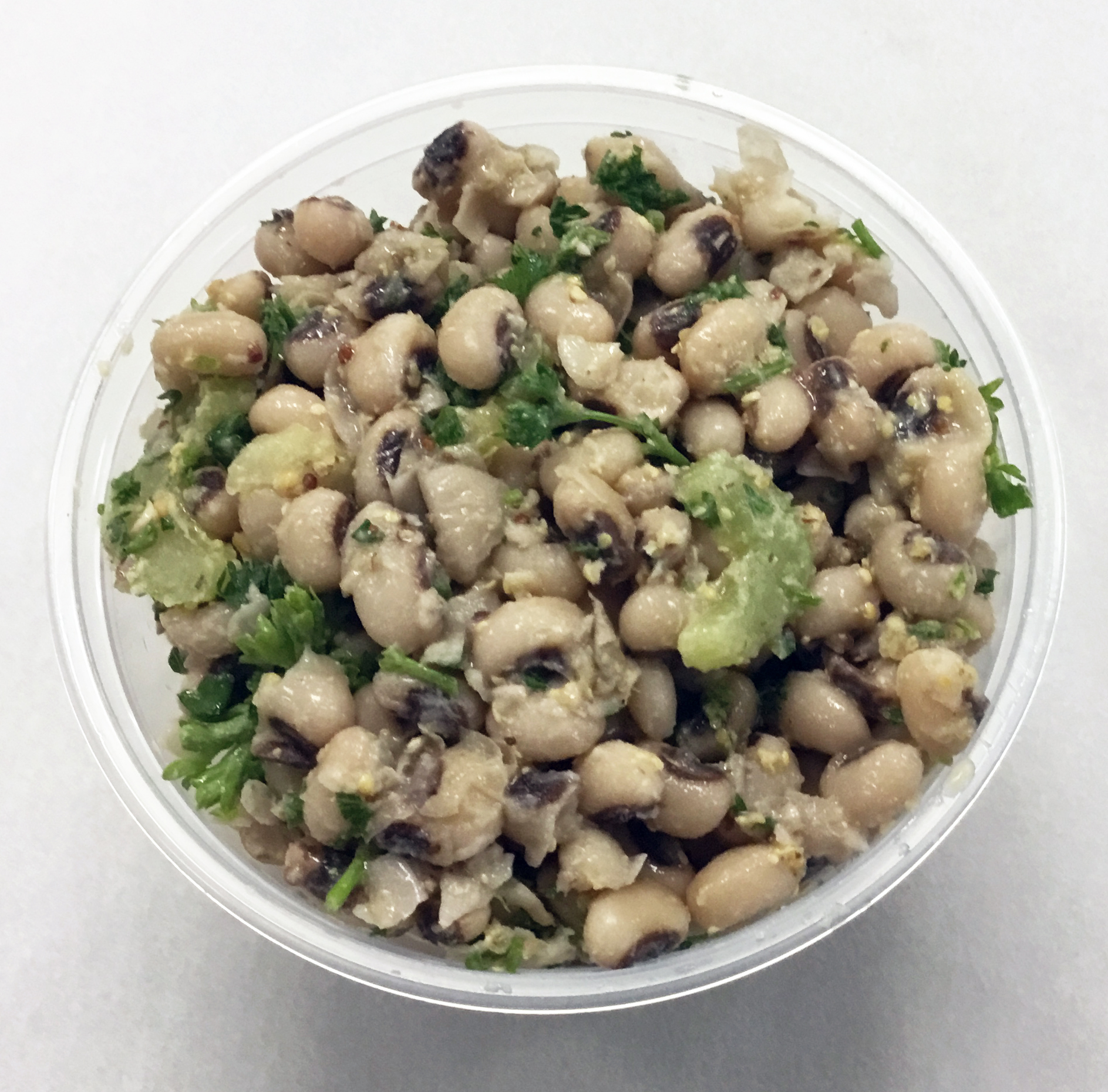 Black eyed peas with celery, parlsey and a stone ground mustard and brown rice vinegar dressing.