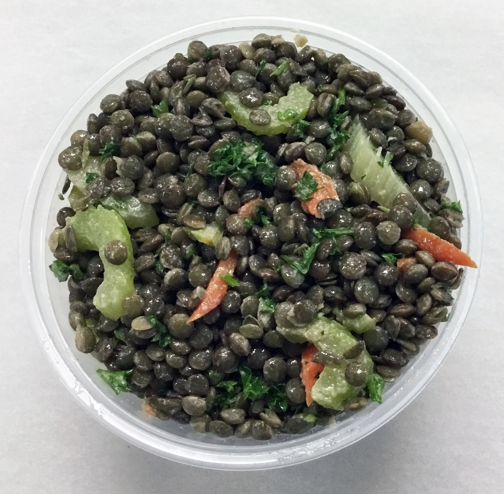 French lentils with carrot, celery, parsley and an apple cider vinegar dressing.