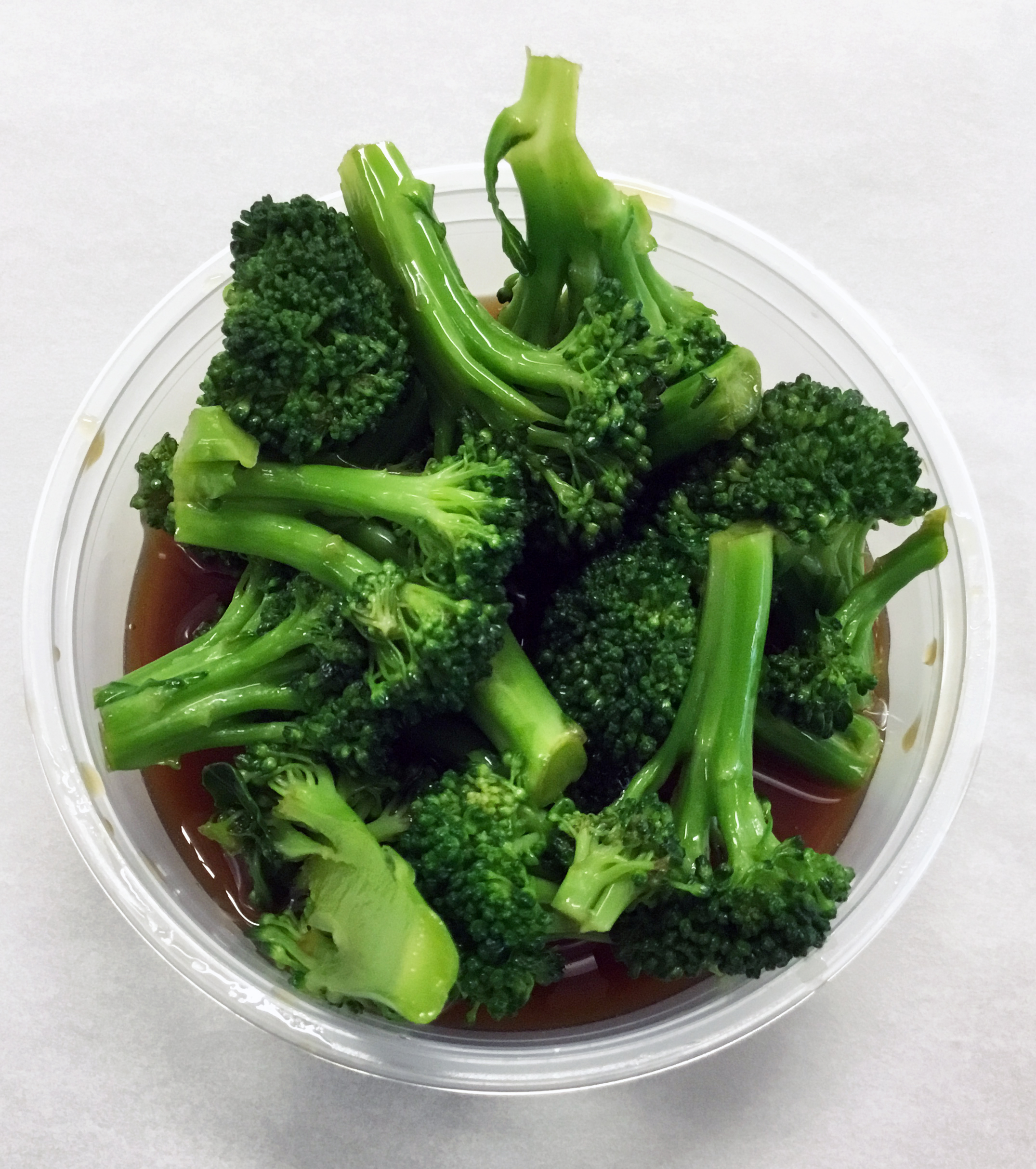 Broccoli boiled salad with a teriyaki sauce of tamari and brown rice syrup.
